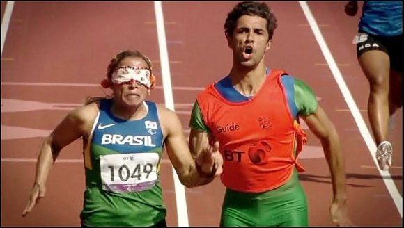 Brazilian Paralympic blind runner and guide at Beijing