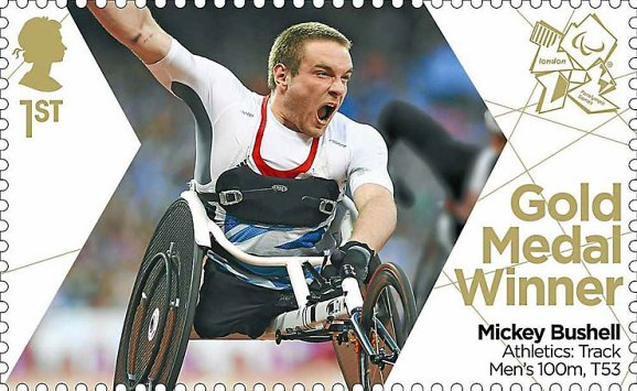 Gold Medal Stamp Paralympics Mickey Bushell