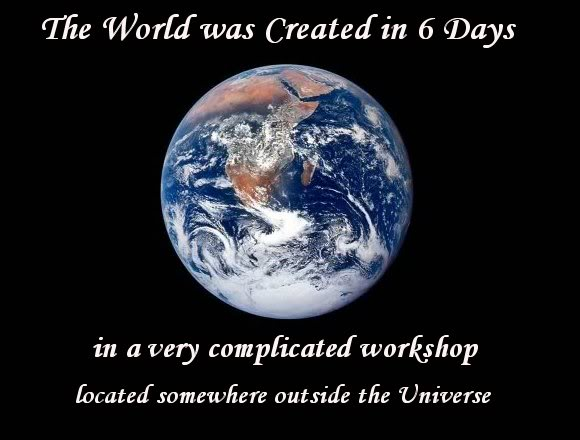 The World Was Created in 6 Days (Earth Blue Marble)