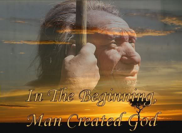 In the beginning man created god (neanderthal man and sunrise