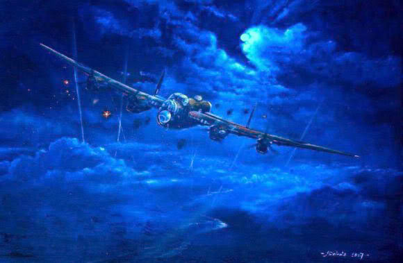 Painting of Lancaster Bomber at night