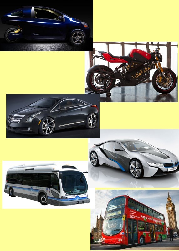 Picture of hybrid and electric vehicles