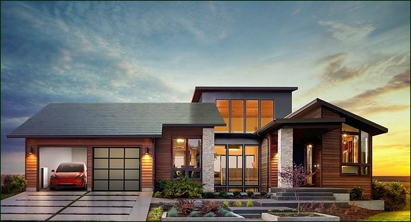 Home with Tesla roof tiles