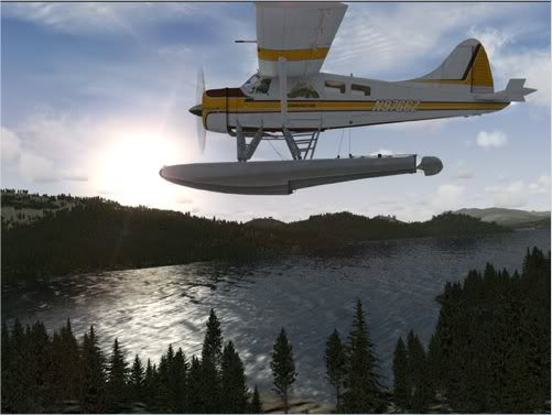 Picture of float plane above mountain lake