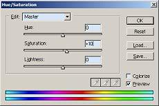 hue / saturation dialog box