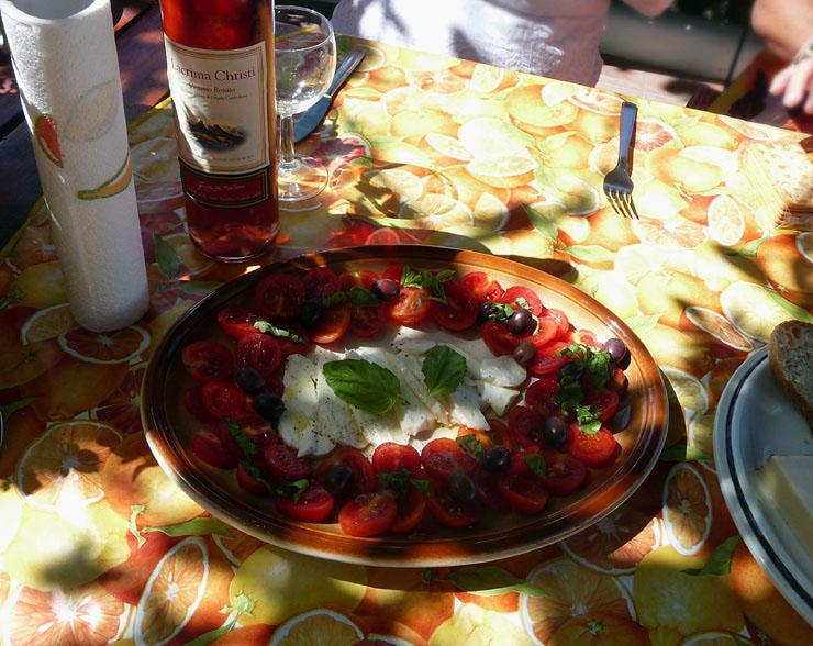 Tomato and Mozzarella salad with Ros� wine