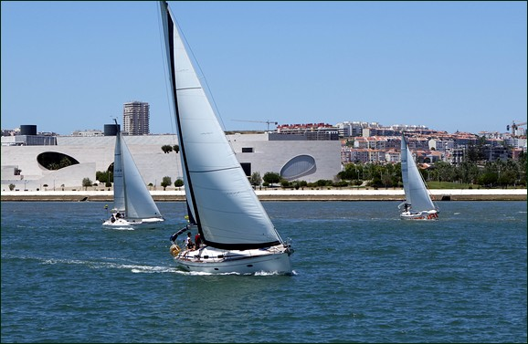 Sailboat passing Champalimaud centre