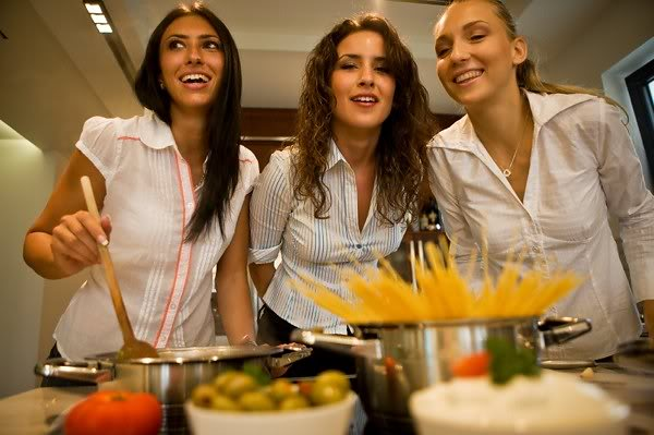 Three girls cooking